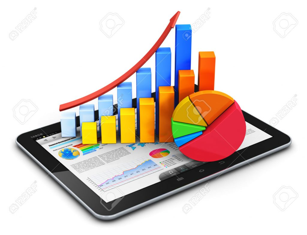 Creative abstract mobile internet office, online stock exchange market trading, web statistics accounting, financial development and banking business concept: modern touchscreen tablet computer PC with stock market application software interface, growth bar chart and pie diagram isolated on white background
