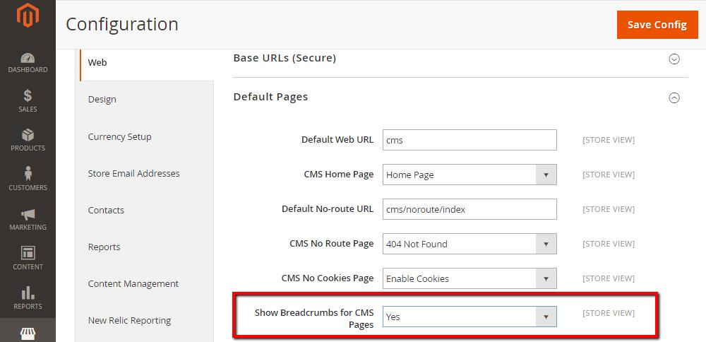 Comment montrer Breadcrumbs aux pages de CMS dans Magento 2